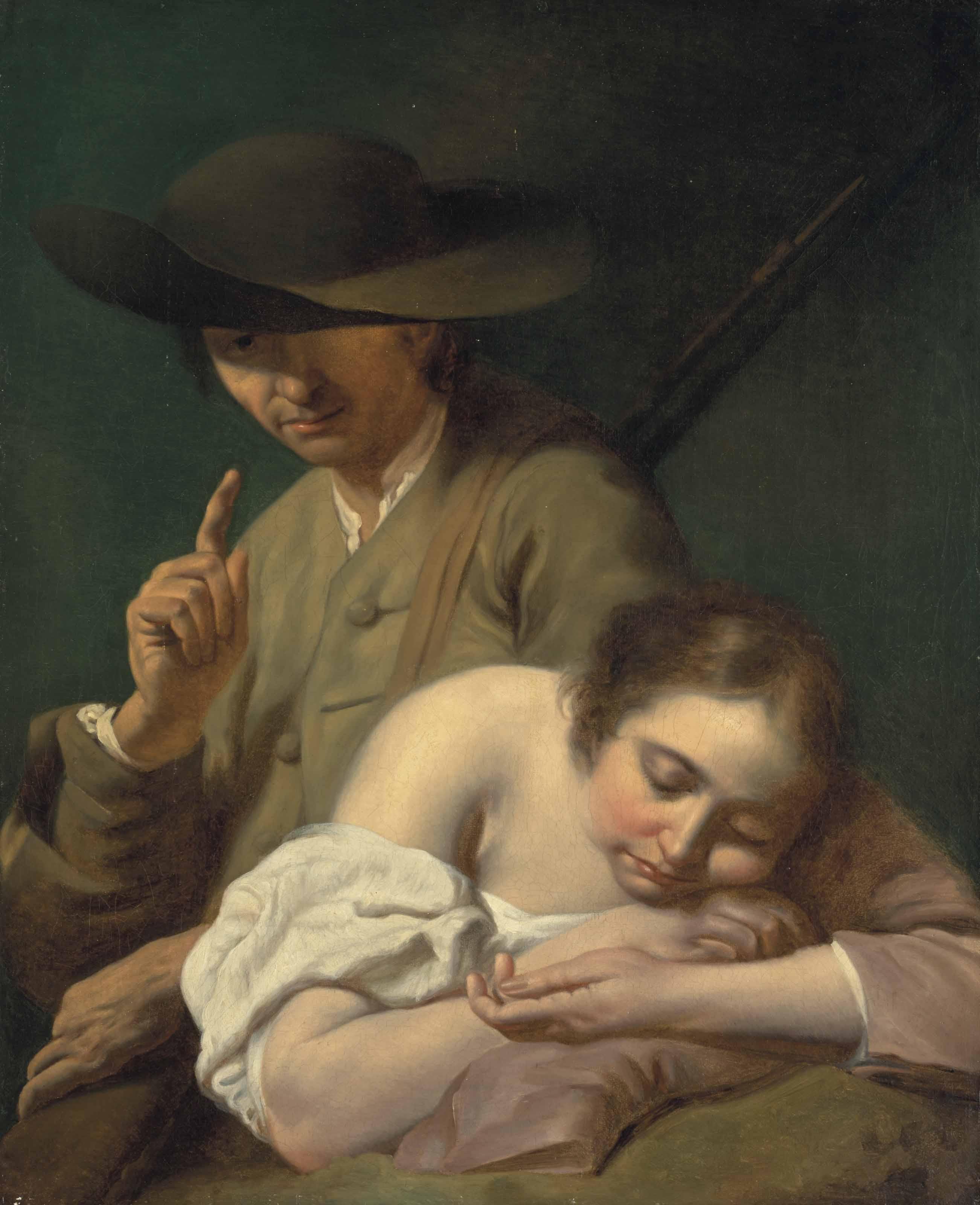 Un chasseur près d'une femme endormie