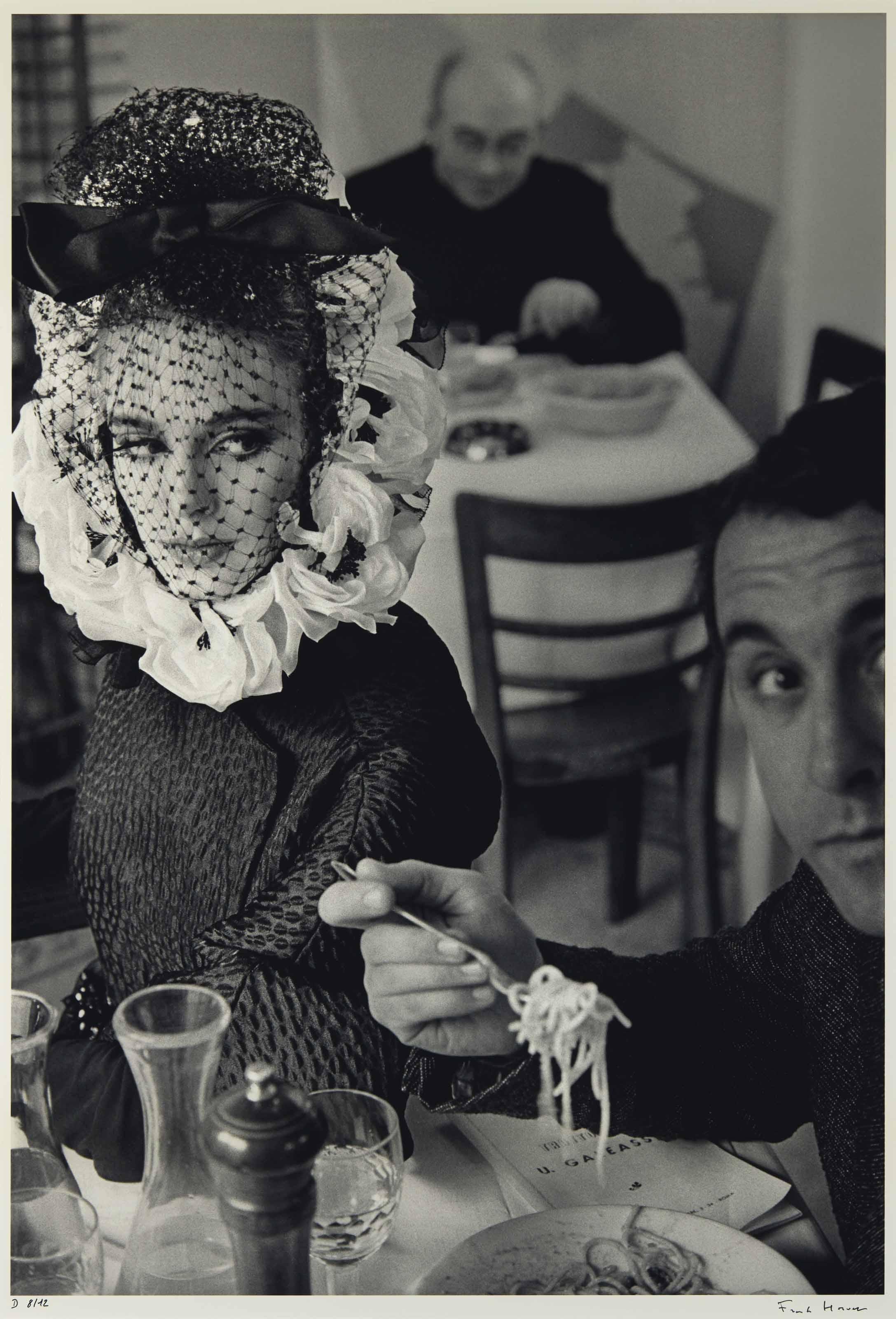 Rome, Italy, for Harper's Bazaar italian high fashion, Deborah Dixon eating spaghetti with writer Antero Piletti (a), 1962