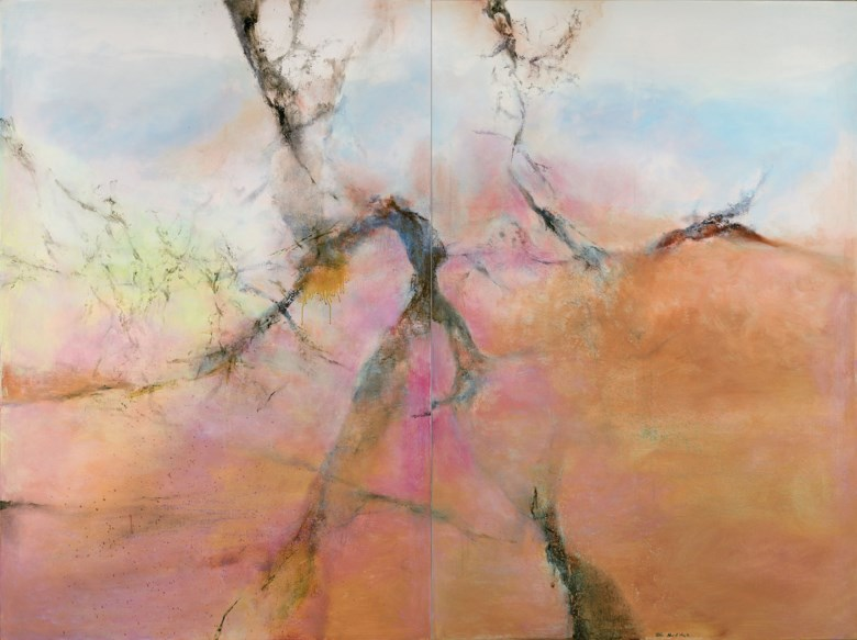 Zao Wou-Ki (ChinaFrance, 1920-2013), 24.12.2002 – Diptyque, 2002. Overall 194 x 260  cm (76⅜ x 102⅜  in). Estimate CNY 12,000,000-20,000,000. This lot is offered in 20th Century & Contemporary Art (Evening Sale) on 24 September 2017  at Christie's in Shanghai