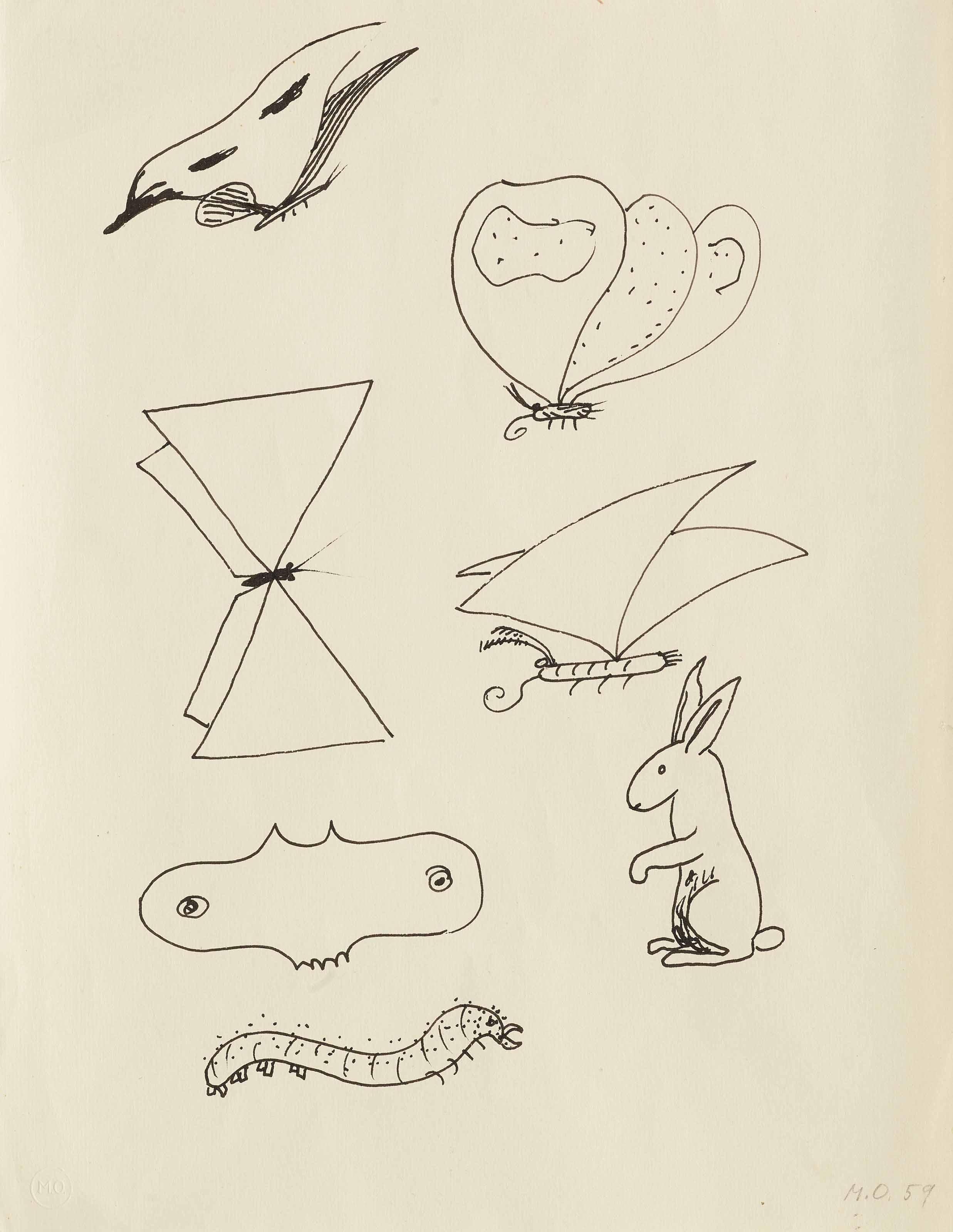 Fünf Schmetterlinge, eine Raupe, ein Hase, 1959
