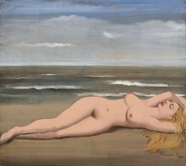 Paul Delvaux (1897-1994), Nu sur la plage, circa 1935. 35½ x 39½  in (90.1 x 100.3  cm). Estimate £150,000-200,000. This lot is offered in The Art of the Surreal Evening Sale on 27 February 2018  at Christie's in London