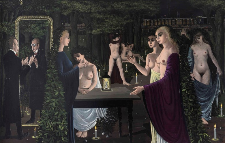 Paul Delvaux (1897-1994), Le sabbat, 1962. 63 x 102⅜  in (160 x 260  cm). Estimate £1,500,000-2,500,000. This lot is offered in The Art of the Surreal Evening Sale on 27 February 2018  at Christie's in London