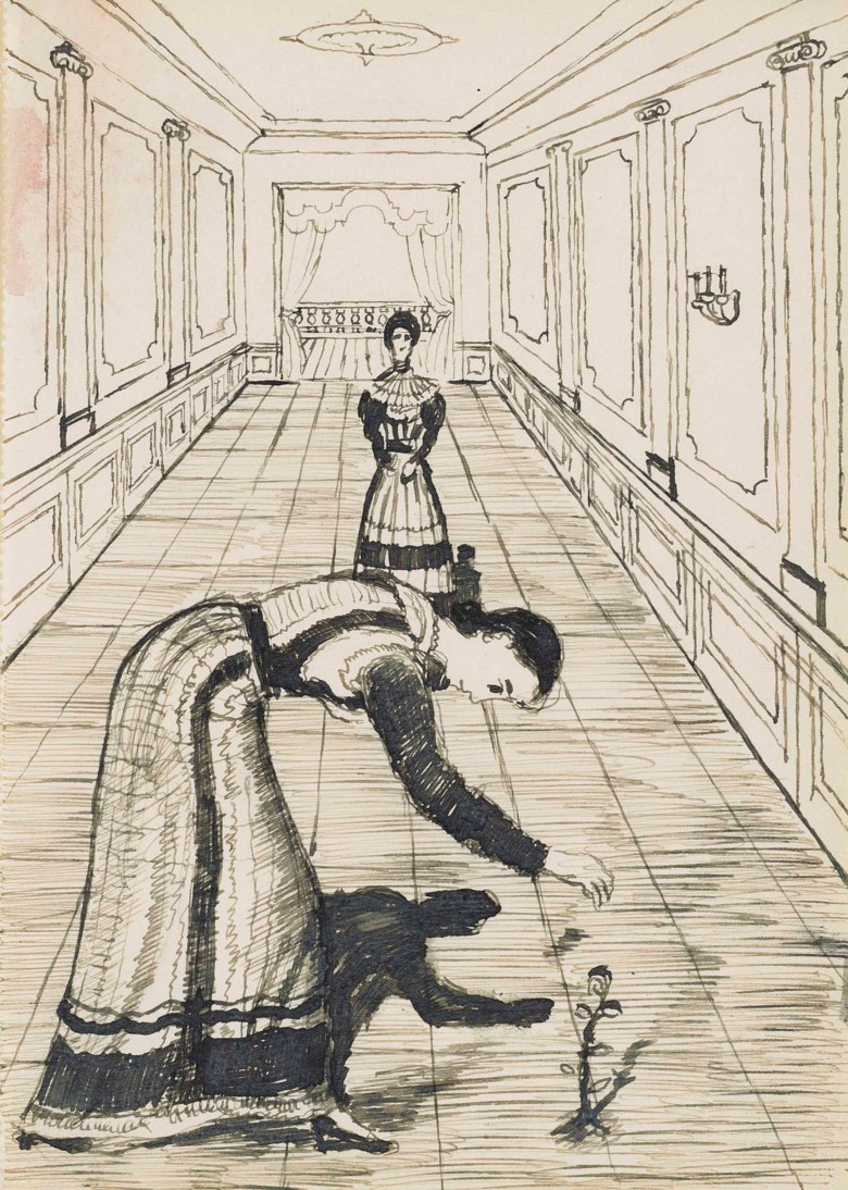 Paul Delvaux (1897-1994), Study for Femme à la rose, circa 1936. 6¾ x 4¾  in (17 x 12.2  cm). Estimate £12,000-18,000. This lot is offered in Impressionist and Modern Works on Paper on 28 February 2018  at Christie's in London