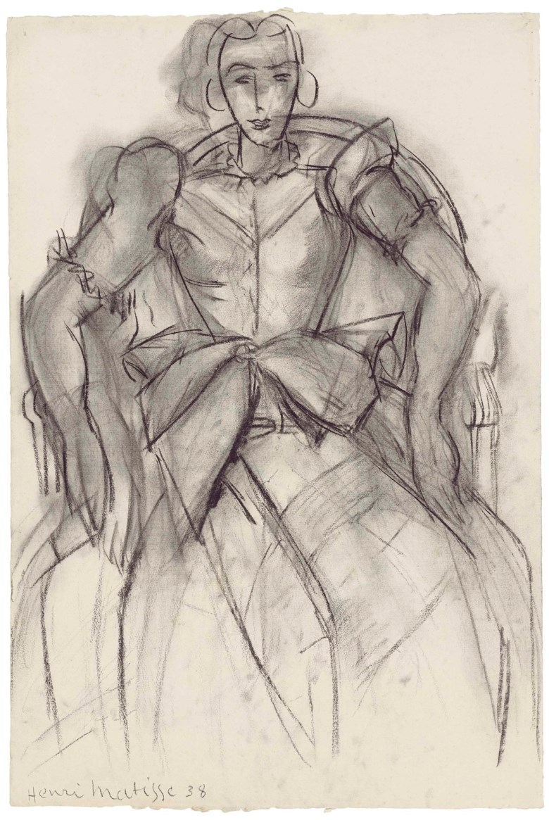 Henri Matisse (1869-1954), Femme assise à la robe de taffetas, 1938. 24 x 16  in (61 x 40.8  cm). Estimate £400,000-600,000. This lot is offered in the Impressionist and Modern Works on Paper sale on 28 February 2018  at Christie's in London