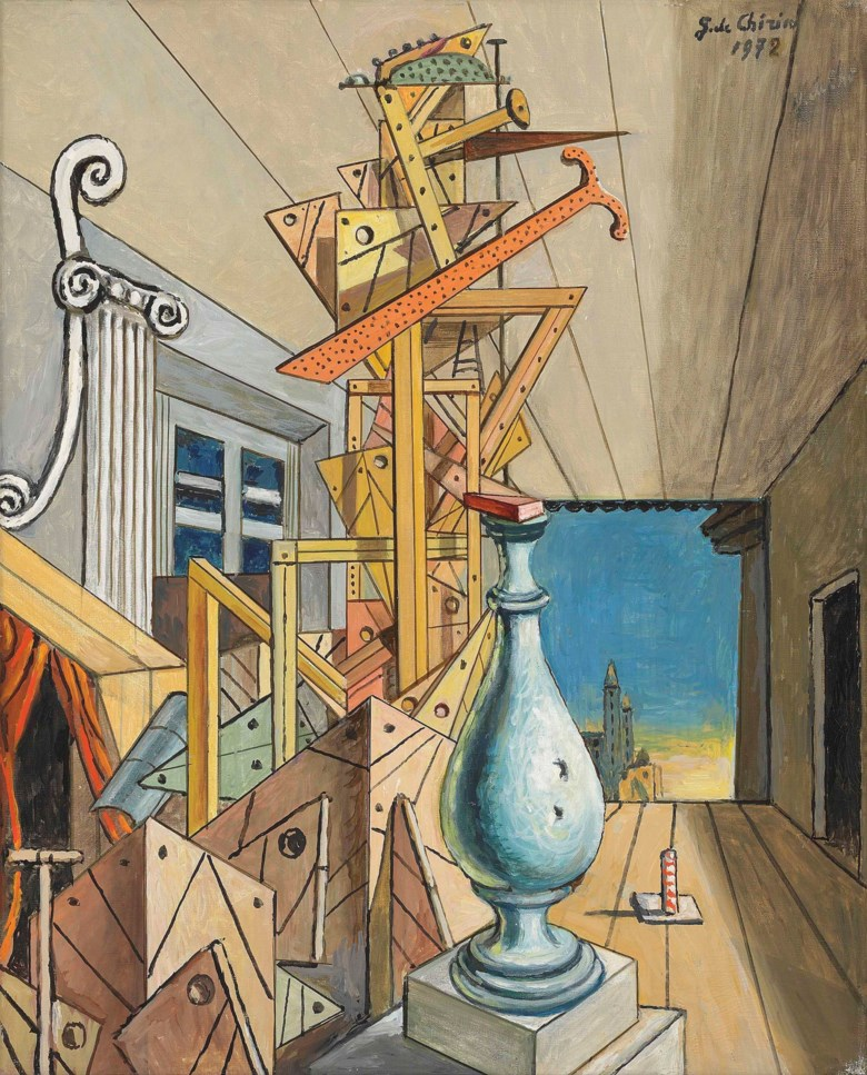 Giorgio de Chirico (1888-1978), Interno metafisico a Manhattan, 1972. 19½ x 15¾  in (49.5 x 40  cm). Estimate £100,000-150,000. This lot is offered in the Impressionist and Modern Art Day Sale on 28 February 2018  at Christie's in London