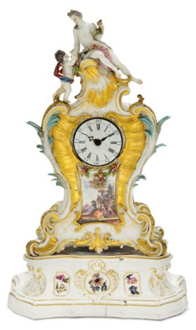 A MEISSEN MANTLE-CLOCK AND A STAND