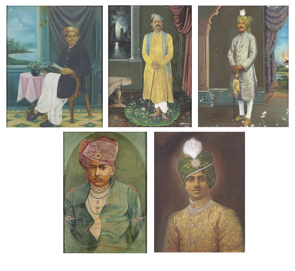 A GROUP OF FIVE PORTRAITS OF INDIAN RULERS, PRIESTS AND A MERCHANT