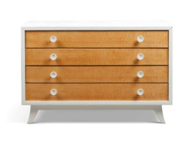 AN AMERICAN SATIN BIRCH AND WHITE LACQUERED COMMODE