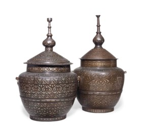 TWO PHILIPPINE SILVER AND COPPER INLAID POTS AND COVERS