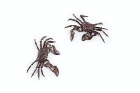 A SMALL PAIR OF SILVER ARTICULATED CRABS