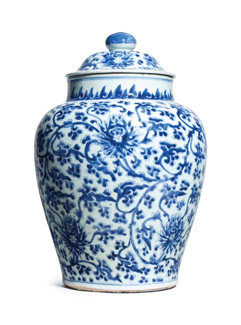 A CHINESE BLUE AND WHITE 'LOTUS' JAR AND A COVER