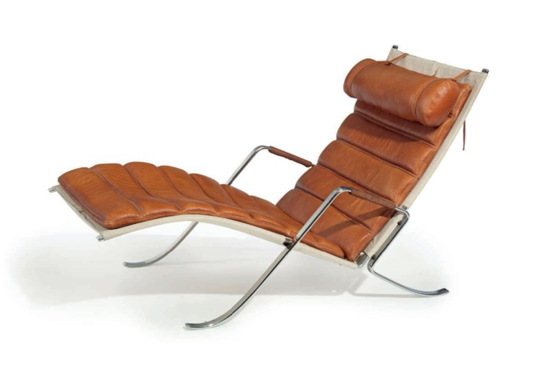Preben Fabricus (1931-1984) and Jørgen Kastholm (1931-2007), a Grasshopper chaise longue, designed 1968. 32¼  in (82  cm) high, 28½  in (72.4  cm) wide, 58 in (147.3  cm) deep. Estimate $6,000-9,000. This lot is offered in the JF Chen Collection on 13 February 2018  at Christie's in New York