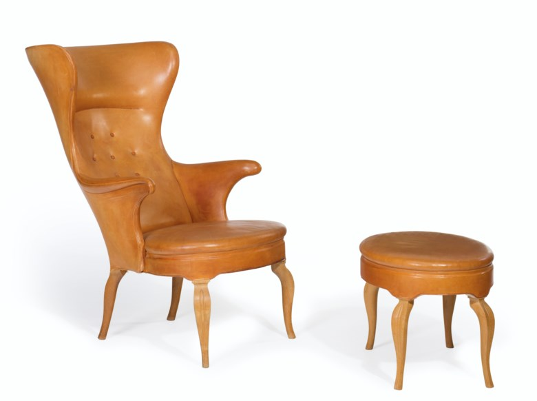 Frits Henningsen (1902-1971), A high-back chair and ottoman, designed 1935. The ottoman 17  in (43.2  cm) high, 24  in (61  cm) wide, 18  in (45.7  cm) deep,. Estimate $70,000-100,000. This lot is offered in JF Chen Collection on 13 February 2018  at Christie's in New York