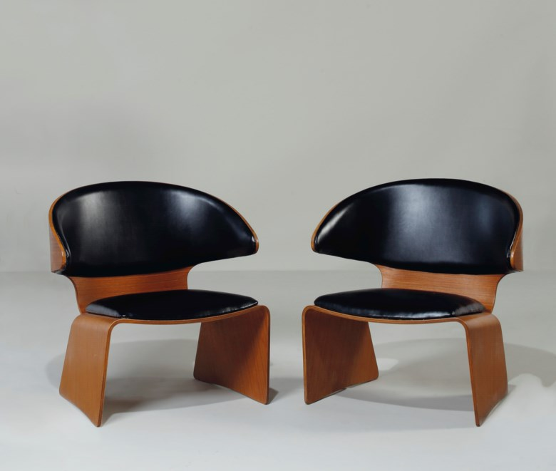 Hans Olsen (1902-1983), a pair of Bikini lounge chairs, designed 1961. Each 28¾  in (73  cm) high. Estimate $4,000-6,000. This lot is offered in the JF Chen Collection on 13 February 2018  at Christie's in New York