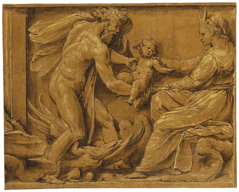 Pietro Buonaccorsi, called Perino del Vaga (Florence 1501-1547 Rome), Jupiter Handing a Newborn Boy to Diana. 14½ x 18¼ in (36.8 x 46.2 cm). Estimate $150,000-200,000. This lot is offered in Old Master & British Drawings on 30 January 2018  at Christie's in New York