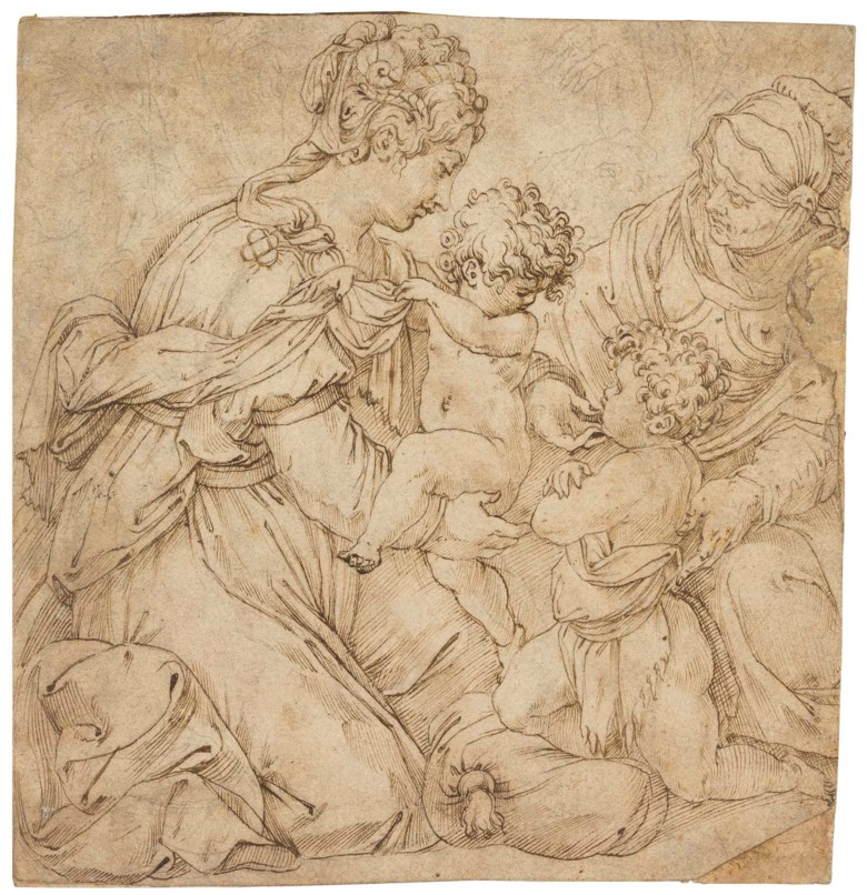 Giorgio Vasari (Arezzo 1511-1574 Florence), The Virgin and Child with the Infant Baptist and Saint Anne. 7¾ x 6¾  in (18 x 17.2 cm). Estimate $80,000-120,000. This lot is offered in Old Master & British Drawings on 30 January 2018  at Christie's in New York