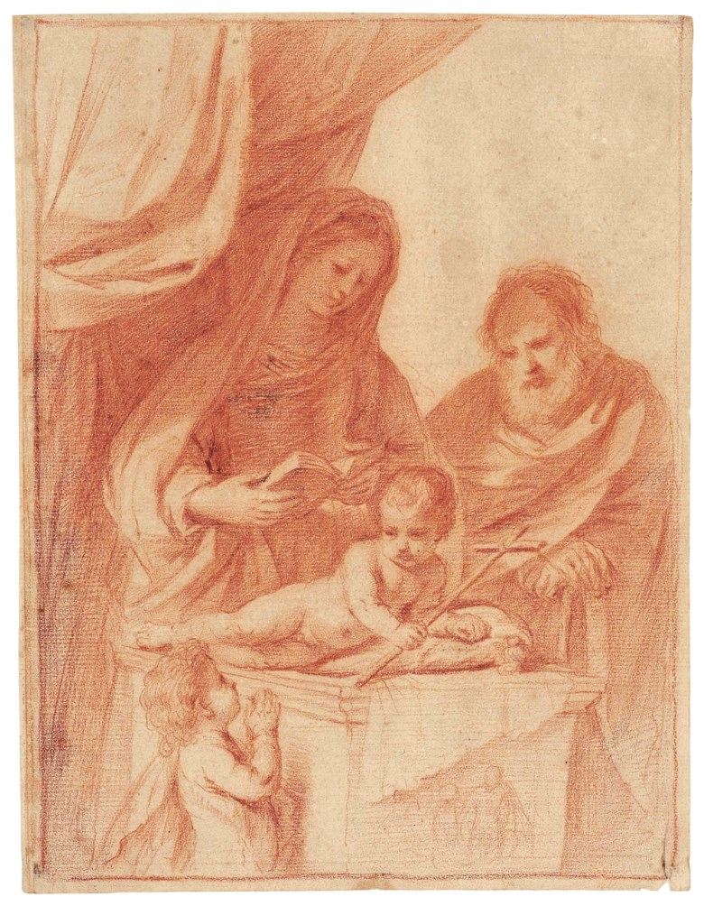 Giovanni Francesco Barbieri, called Il Guercino (Cento 1591-1666 Bologna), The Holy Family with the Infant Saint John Baptist. 10⅞ x 8¼  in (27.6 x 21 cm). Estimate $40,000-60,000. This lot is offered in Old Master & British Drawings on 30 January 2018  at Christie's in New York