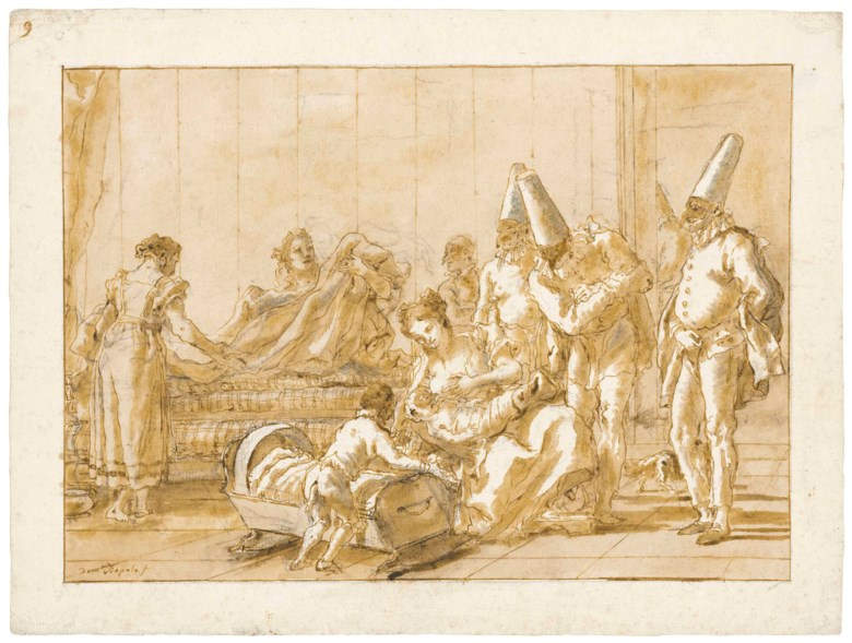 Giovanni Domenico Tiepolo (Venice 1727-1804), The Nursing of Punchinello. 14 x 18½  in (35.4 x 47 cm). Estimate $600,000-1,000,000. This lot is offered in Old Master & British Drawings on 30 January 2018  at Christie's in New York