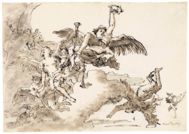 Giovanni Domenico Tiepolo (Venice 1727-1804), Fame with angels and putti in the sky. 11⅛ x 7⅞  in (20 x 28.3 cm). Sold for $12,500 on 30 January 2018 at Christie's in New York