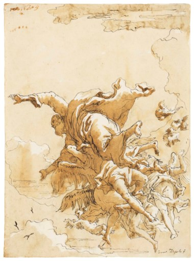 Giovanni Domenico Tiepolo (Venice 1727-1804), God the Father in the clouds supported by angels. 10 x 7 ½  in (24.5 x 17.9 cm). Sold for $25,000 on 30 January 2018 at Christie's in New York