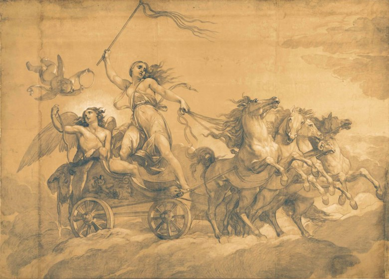Giuseppe Bezzuoli (Florence 1784-1855), Folly Driving the Chariot of Love. 135¾ x 189½  in (344 x 481 cm). Estimate $50,000-80,000. This lot is offered in Old Master & British Drawings on 30 January 2018  at Christie's in New York