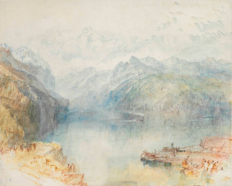 Joseph Mallord William Turner, R.A. (London 1775-1851), The Lake of Lucerne from Brunnen, with a Steamer. 9¾ x 12⅛  in (24.8 x 30.8 cm). This lot was offered in Old Master & British Drawings on 30 January 2018  at Christie's in New York and sold for $1,092,500