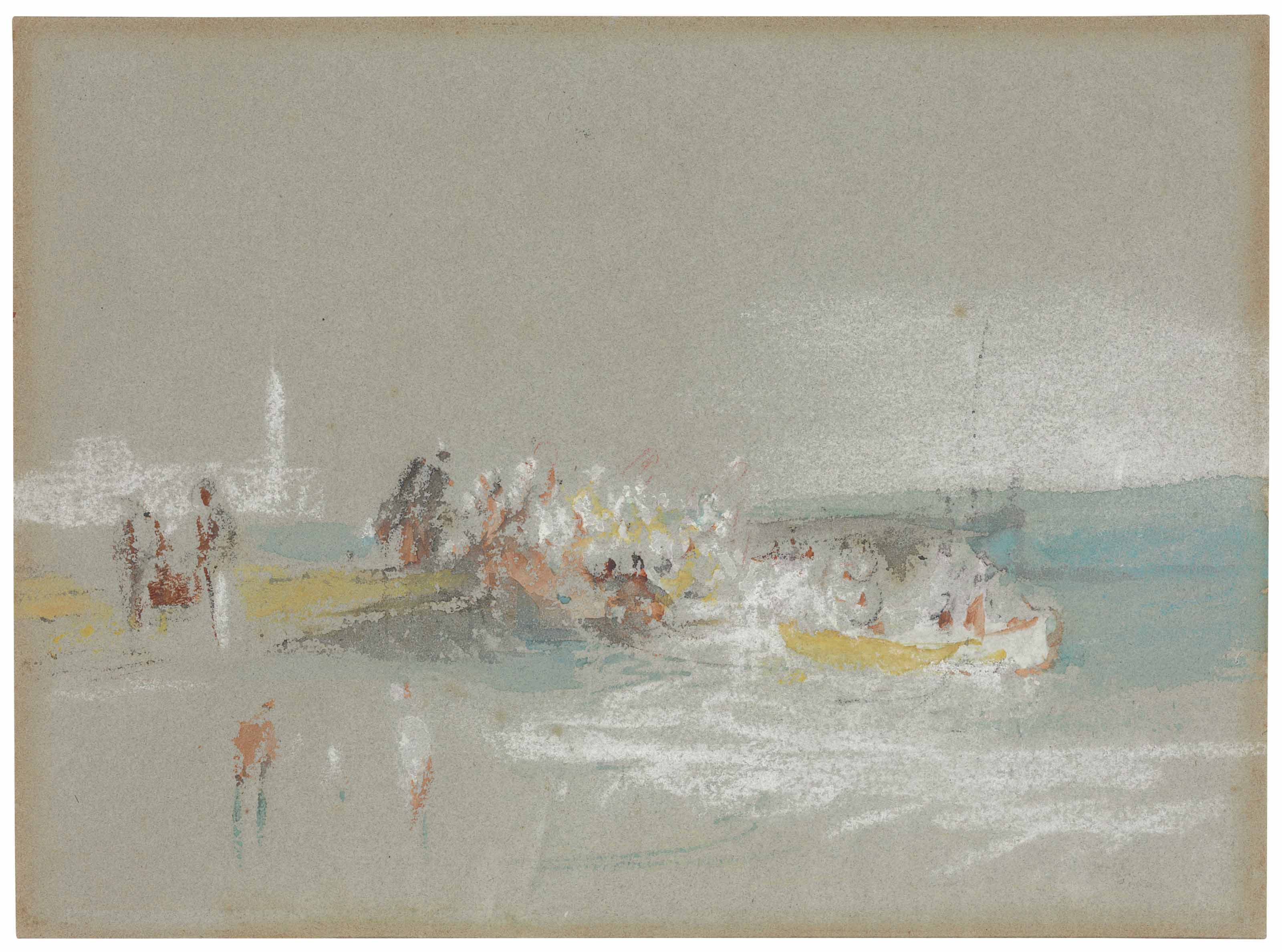 Joseph Mallord William Turner, R.A. (London 1775-1851), Figures by the shore at Margate. 5¼ x 7¼  in (13.6 x 18.4 cm). This lot was offered in Old Master & British Drawings on 30 January 2018  at Christie's in New York and sold for $137,500