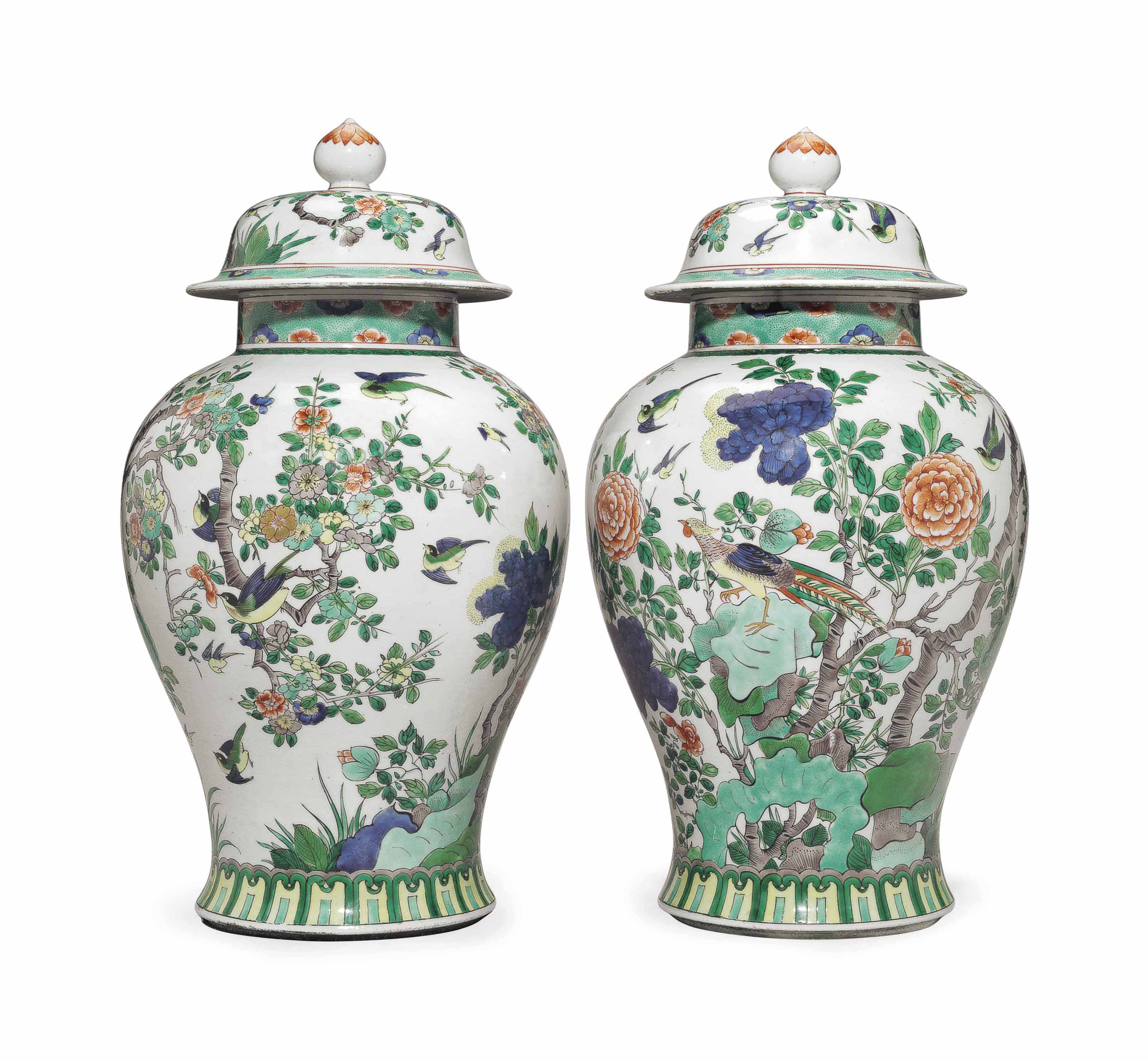 A PAIR OF SAMSON FAMILLE VERTE BALUSTER JARS AND COVERS
