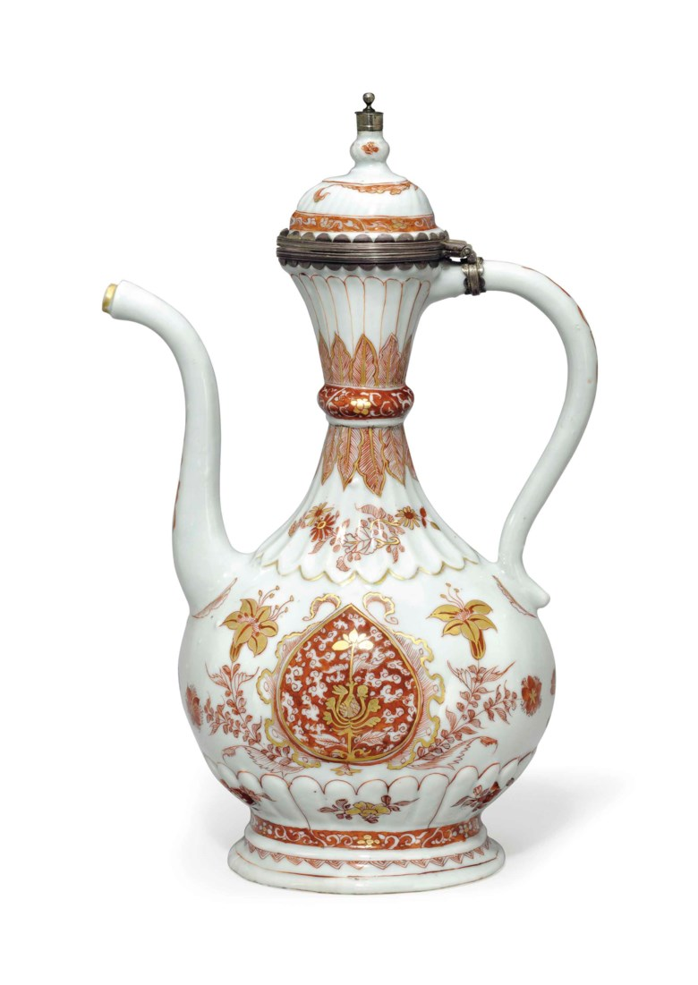 A rare iron-red and gilt ewer and hinged cover, Kangxi period (1662-1722). 13¼  in (33  cm) high. Estimate $15,000-20,000. This lot is offered in Chinese Export Art Featuring 100 lots from Marchant, est 1925 on 18 January 2018  at Christie's in New York