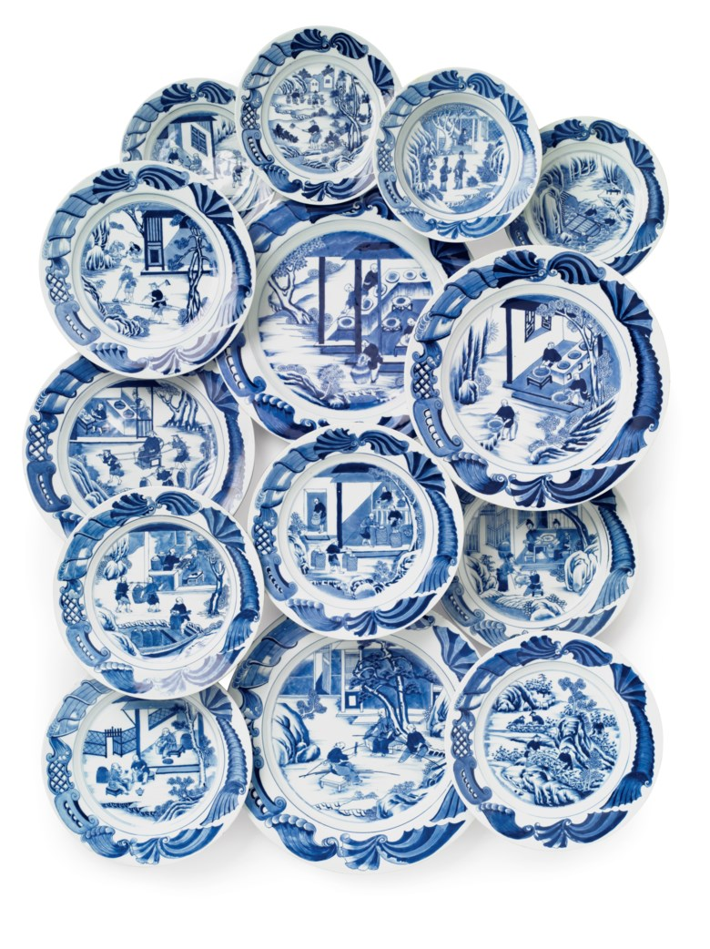 A very rare set of blue and white tea cultivation dishes, Qianlong period, circa 1750. 15⅛  in (38.5  cm) diameter, the largest. Estimate $40,000-60,000. This lot is offered in Chinese Export Art Featuring 100 lots from Marchant, est 1925 on 18 January 2018  at Christie's in New York