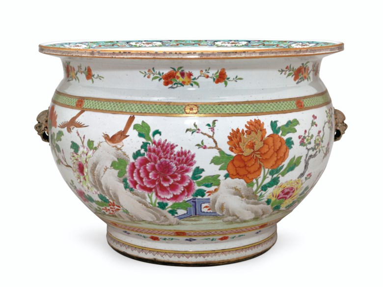 A famille rose fish bowl, Qianlong period, circa 1740. 23½  in (59.7  cm) diameter, 16½  in (41.9  cm) high. Estimate $20,000-30,000. This lot is offered in Chinese Export Art Featuring 100 lots from Marchant, est 1925 on 18 January 2018  at Christie's in New York