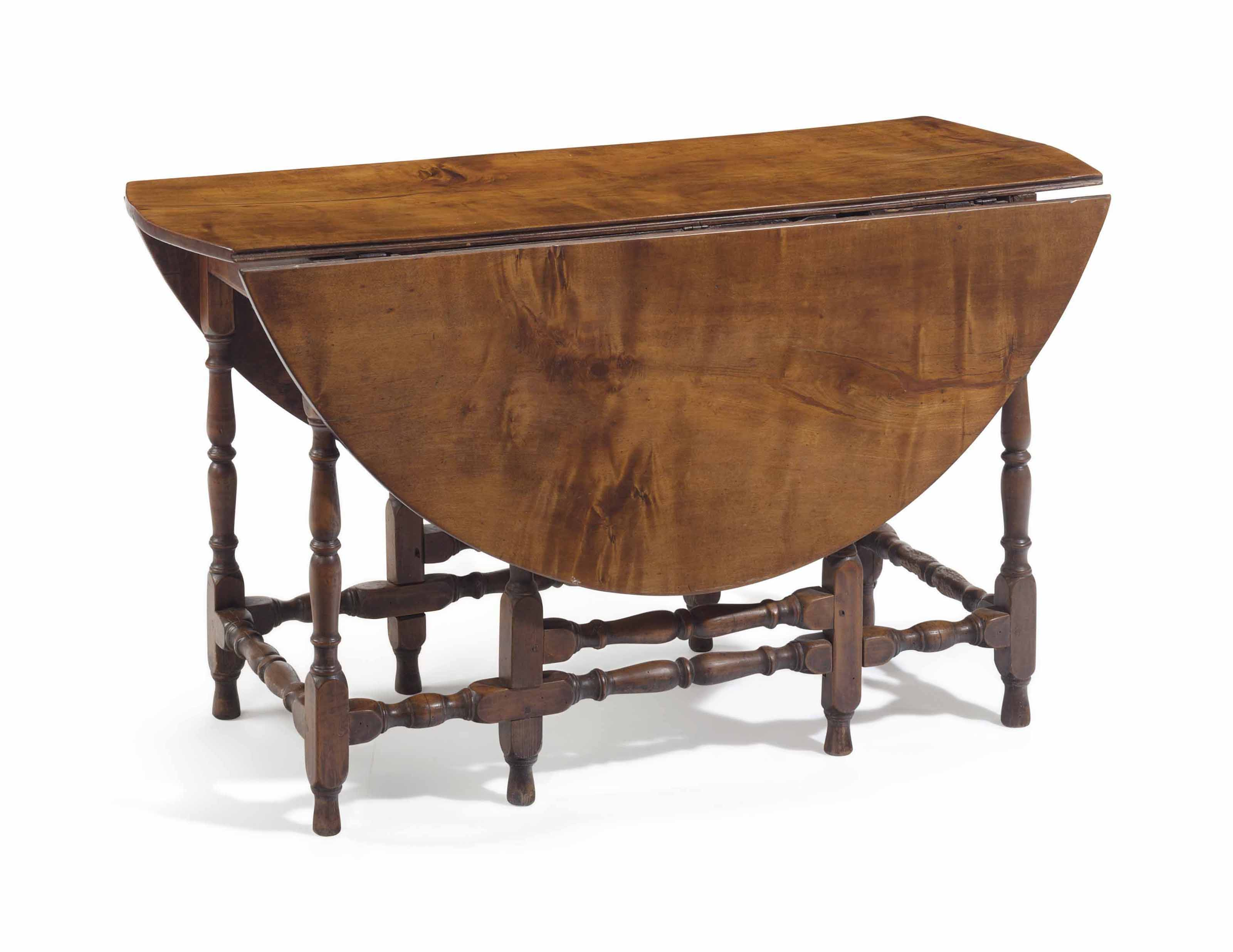 A William And Mary Maple Gate Leg Table, New England, 1720 1740