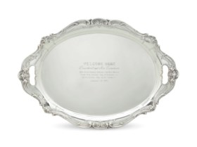 AN AMERICAN SILVER PRESENTATION TWO-HANDLED TRAY OF PRESIDENTIAL INTEREST