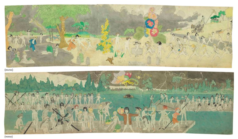 Henry Darger (1892-1973), 93 At Jennie Richee, are chaced for long distance by Glandelinians with blood hounds.  95 At Jennie Richee, Escape down Aronburgs Run River through circle section in storm., double sided. Estimate $200,000-400,000. This lot is offered in Beyond Imagination Outsider and Vernacular Art Featuring the Collection of Marjorie and Harvey Freed on 19 January 2018  at
