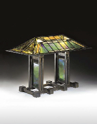 AN IMPORTANT LEADED GLASS AND BRONZE TABLE LAMP | FRANK LLOYD WRIGHT,  EXECUTED BY THE LINDEN GLASS COMPANY, FOR THE SUSAN LAWRENCE DANA HOUSE, ...