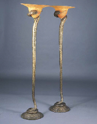 A pair of art deco style bronze and glass floor lamps for Art deco floor lamp melbourne