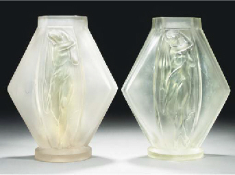 A Pair Of Frosted Glass Vases Lucille Sevin For Edmond