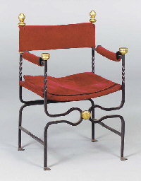 A Pair Of Spanish Wrought Iron And Red Velvet Chairs Modern 2 Christie 39 S