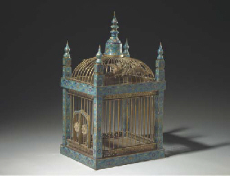 A Rare Cloisonne Enamel And Gilt Metal Bird Cage 19th