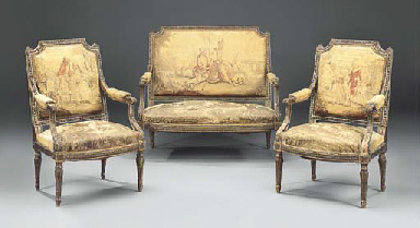 A french giltwood and aubusson tapestry upholstered three for 212 salon st louis