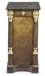 An empire ormolu mounted mahogany pedestal table de nuit for Table de nuit new york