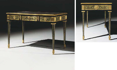 a louis xvi ormolu mounted brass inlaid ebony and boulle marquetry bureau plat by etienne. Black Bedroom Furniture Sets. Home Design Ideas
