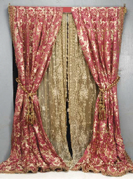 A Pair Of Red And Gold Silk Damask Curtains 20th