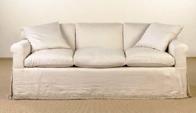A Cream Linen Upholstered Sofa 20th Century Supplied By Billy Baldwin Recovered Incorporating The Original T Christie S