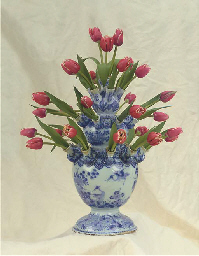 A Rare Dutch Delft Blue And White Tiered Chinoiserie Tulip Vase Circa 1690 Attributed To De