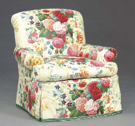 TWO CONTEMPORARY FLORAL CHINTZ COVERED CLUB CHAIRS ...