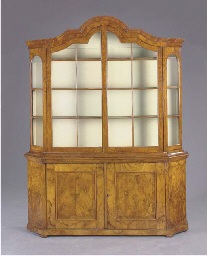 A dutch baroque style walnut vitrine cabinet late 19th for Dutch baroque architecture