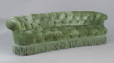 A button tufted sofa upholstered in green velvet second for Button tufted velvet chaise settee green