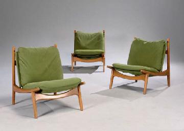 joseph andre motte ne en 1925 suite de trois fauteuils edition steiner vers 1960 christie 39 s. Black Bedroom Furniture Sets. Home Design Ideas