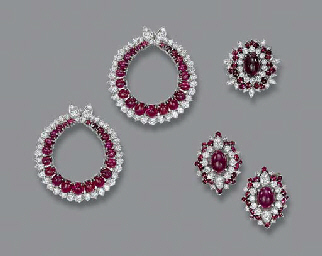 A Ruby And Diamond Suite Of Jewellery By David Morris